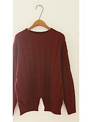 Damen Kurz Pullover-Ausgehen Niedlich Solide Rot / Weiß / Braun Rundhalsausschnitt Langarm Baumwolle / Acryl / Polyester Herbst Mittel