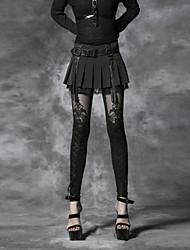 Панк Rave женщин черный тощие брюки, винтаж