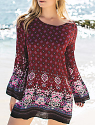 Women's Holiday Boho / Cute Loose Dress,Paisley Round Neck Mini Long Sleeve Blue / Red Polyester Fall