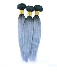 Pelo gris 3pcs / lot extensión del pelo gris platino pelo virginal ombre extensiones de cabello humano brasileño recto de plata teje