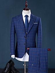 Suits Standaard pasvorm Punt Single Breasted Twee-Knoops Katoen Geruit 3-delig Grijs / Blauw Recht met flappen Geen (vlakke voorzijde)