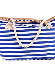 Women Canvas Stripes Casual  Outdoor Shopping Zipper Shoulder Bag