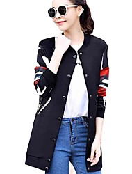 Women's Casual/Daily Street chic All Match Slim Fall Jackets,Print Round Neck Long Sleeve