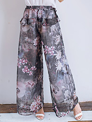 Women's Print Blue / Black / Brown Loose Pants,Simple