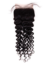 Best Virgin Peruvian Closure Deep Wave Peruvian Lace Closure Free Part Virgin Human Hair Closure Natural Black