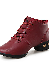 Non Customizable Women's Dance Shoes Leather Leather Dance Sneakers / Modern Boots / Outdoor Black / Red