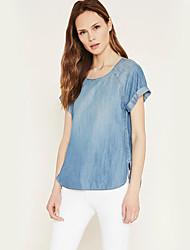Damen Solide Einfach Lässig/Alltäglich T-shirt,Rundhalsausschnitt Sommer Kurzarm Blau Baumwolle Dünn