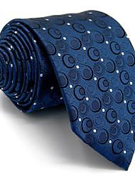 Men's Necktie Tie 100% Navy Blue Dots Jacquard Woven Dress For Men  Dress Casual Business