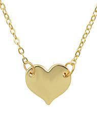 Gold Silver Color Metal Heart Pendant Necklace