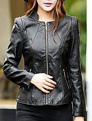 Women's Going out Street chic Fall Leather Jackets,Solid Stand Long Sleeve Black PU Medium