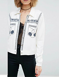 Women's Casual/Daily Simple Spring Denim Jackets,Embroidered Shirt Collar Long Sleeve White Cotton Medium