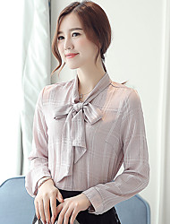 Women's Checked Bowknot Chiffon Long Sleeve Blouses Shirt