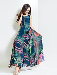BORME® Damen Rundhalsausschnitt Ärmellos Maxi Kleid-Y028A