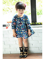 Baby Casual/Daily Print Dress,Cotton Summer Blue / Yellow