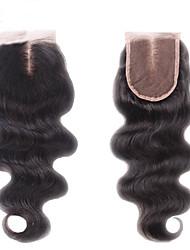 8''-24'' Черный Изготовлено вручную Естественные кудри Человеческие волосы закрытие Умеренно-коричневый Швейцарское кружево 35-45g грамм