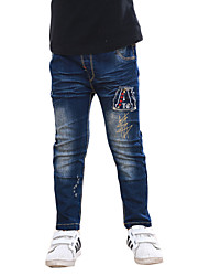Boy's Casual/Daily Embroidered Pants,Cotton Winter / Fall Blue