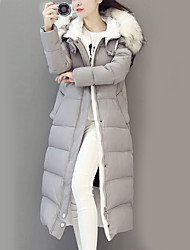 Long Padded Coat,Street chic Casual/Daily Solid-Nylon White Goose Down Long Sleeve Hooded