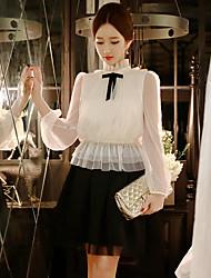 dabuwawa mujeres que salen de / casual / de la vendimia / blusa linda / sofisticada, manga larga soporte sólido