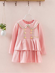 Girl's Casual/Daily Print Dress,Cotton Spring / Fall Blue / Pink