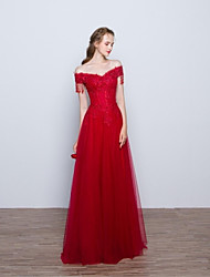 Formal Evening Dress A-line Off-the-shoulder Floor-length Lace / Tulle with Appliques / Beading / Flower(s)