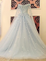 Ball Gown Wedding Dress Court Train Off-the-shoulder Satin / Tulle with Appliques / Flower / Sequin
