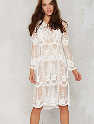Women's Beach Boho Tunic Dress,Embroidered Round Neck Knee-length Long Sleeve White Polyester Summer