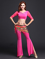 Belly Dance Outfits Women's Training Modal 2 Pieces Black / Fuchsia / Light Purple / Burgundy  Half Sleeve  No Belt
