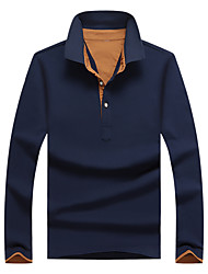 Men's Long Sleeve Polo,Cotton / Spandex Casual / Work / Sport Solid