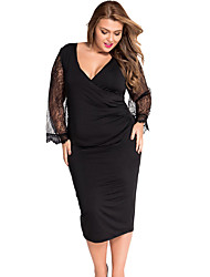 Women's Eyelash Flared Sleeves Black Plus Size Dress