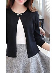 Women's Casual/Daily Simple Regular Cardigan,Solid Multi-color Round Neck Long Sleeve Polyester Fall Medium