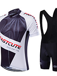 fastcute Cycling Jersey with Bib Shorts Men's Unisex Short Sleeve Bike Bib Tights Jersey Clothing SuitsQuick Dry Front Zipper Wearable