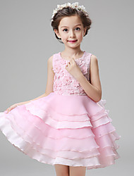 Performance Dresses Children's Performance Acrylic Appliques 1 Piece Pink / White Performance Sleeveless Natural Dress