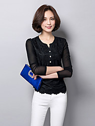 Women's New Fashion V Collar Lace Long Sleeve Blouses
