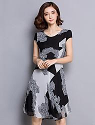 Women's Plus Size Sophisticated A Line Dress,Color Block Round Neck Above Knee Short Sleeve Black Silk Summer