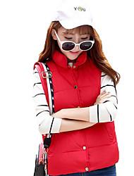 Women's Solid Slim Fashion Vest Down Coat,Street chic Stand Sleeveless