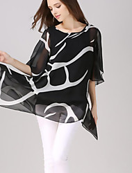 Women's Casual/Daily Simple Summer T-shirt,Print Round Neck ½ Length Sleeve White / Black Polyester Opaque