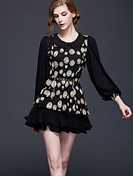 Casual/Daily / Formal Simple Sheath Dress,Print / Embroidered Round Neck Above Knee Long Sleeve White / Black Nylon