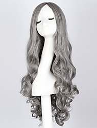 "Fashion Long Curly Smoke Gray Wig 28"" Long Curly Blue Hair Wig Synthetic Anime Hair Cosplay Wig for Women"