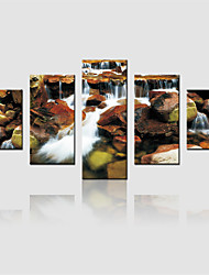JAMMORY Canvas Set Landscape Modern,Five Panels Gallery Wrapped, Ready To Hang Vertical Print No Frame Mountain Stream
