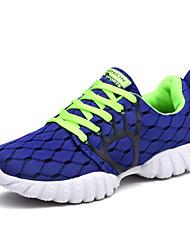 Для мужчин Кеды Удобная обувь Тюль Весна Осень Повседневные Для прогулок Удобная обувь Шнуровка На плоской подошвеЧерный Синий