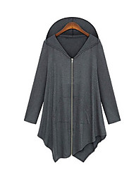 Women's Plus Size / Going out Street chic Spring / Fall Cloak/CapesSolid Hooded Long Sleeve Black / Gray Polyester Thin