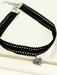 Necklace Choker Necklaces / Pendant Necklaces Jewelry Daily / Casual Fashionable / Adjustable / Double-layer Alloy / Fabric Black-White