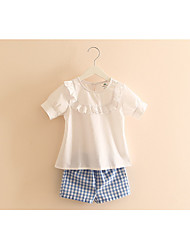 The New Children'S Clothing Fungus Lace Girls Short Sleeve Plaid Shorts Suit