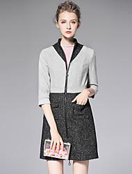AFOLD® Feminino Colarinho Chinês 1/2 Comprimento da luva Wool & Blends Cinzento-6079