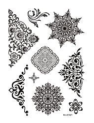 1pc Black Christmas Snowflake Flower Henna Indian Tattoo Body Art Temporary Tattoo Sticker BM-LS1021