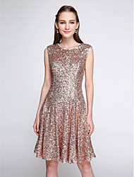 Lanting Bride® Knee-length Sequined Bridesmaid Dress - Sparkle & Shine A-line Jewel with Sequins