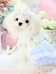 Dog Dress Blue / Pink Winter Britsh / Bowknot Cosplay / Keep Warm, Dog Clothes / Dog Clothing