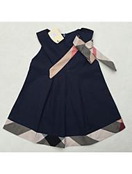 Vestido Bebé-Casual/Diario-Un Color-Algodón-Verano-Negro / Rojo