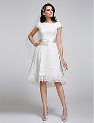 Lanting Bride A-line Wedding Dress Asymmetrical Bateau Lace with Lace