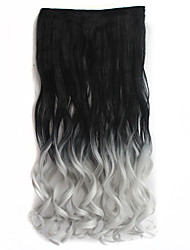 """26"""" Long Wavy 5 Clips Heat Resistant Synthetic Clip in Hair Extensions Black To Gray Gradient Ombre Color Wig"""